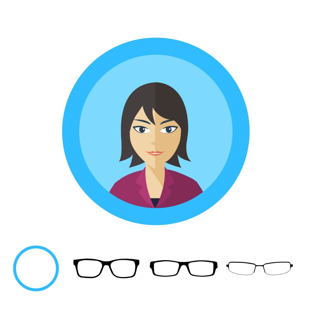 Форма очков для круглого лица: кошачий глаз, лисичкообразные, квадратные или прямоугольные, с прямыми линиями.