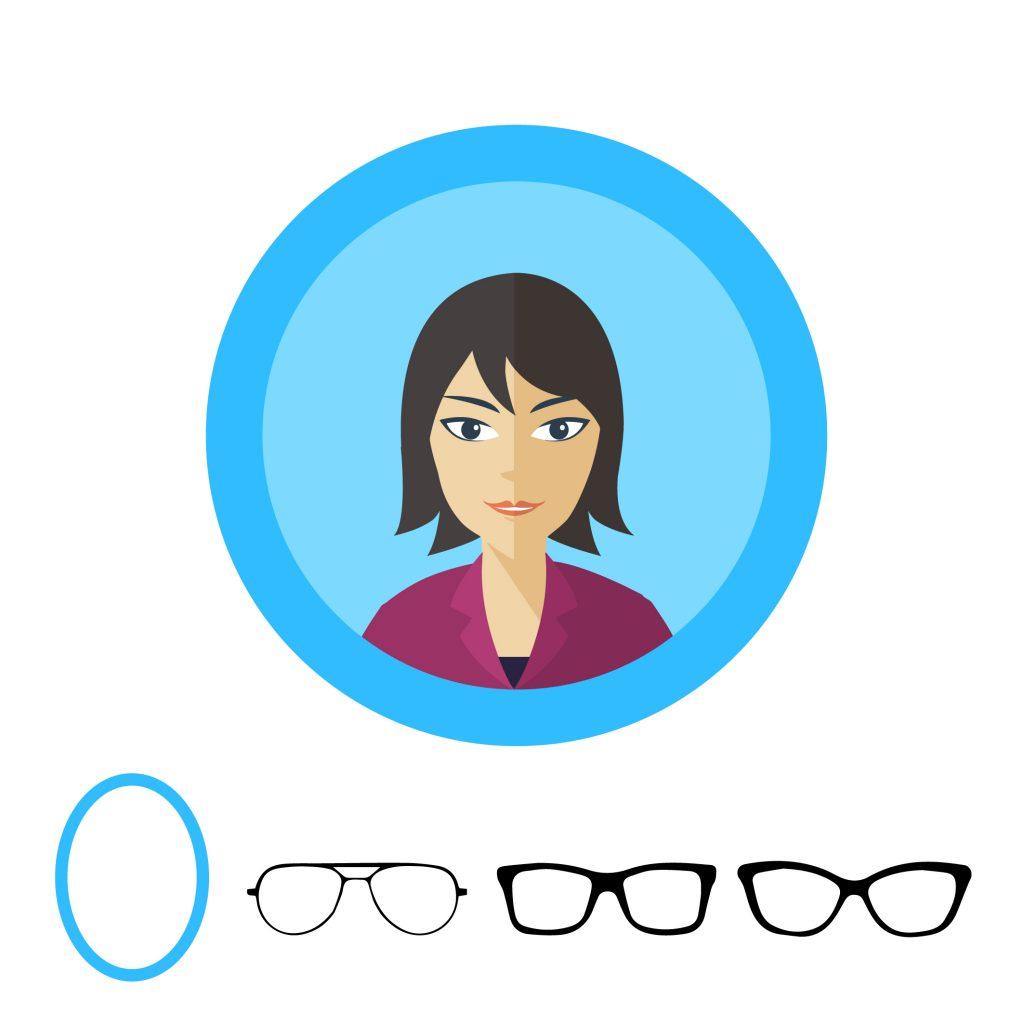 Форма очков для овального лица: прямоугольные, широкие вайфареры, бабочко-образные, авиаторы.
