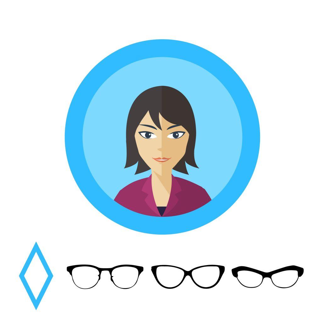 Очки для ромбовидного лица: овальные формы с выразительной линией бровей.