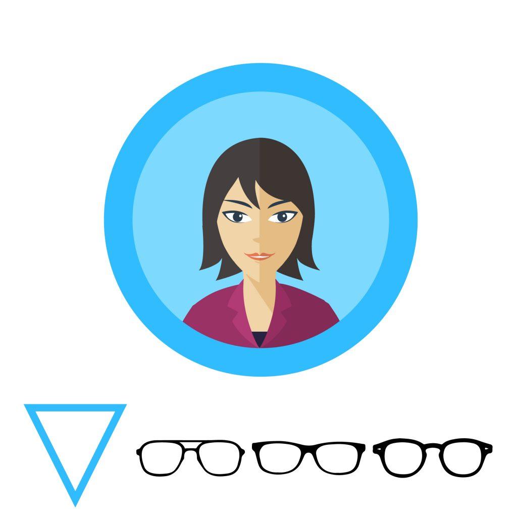 Очки для треугольной формы лица: округлые, не массивные оправы.