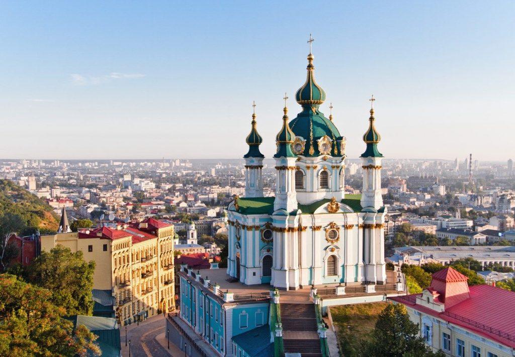 Андреевская церковь, вид сверху