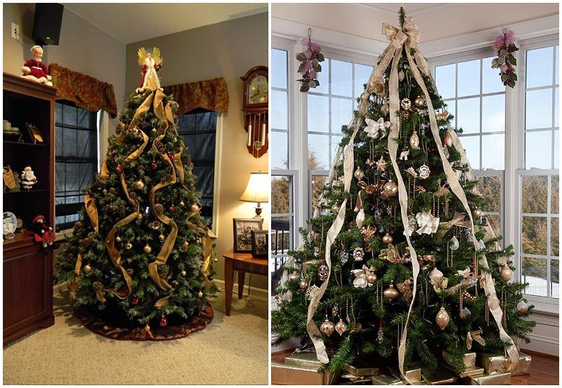 Вертикальное размещение игрушек на елке