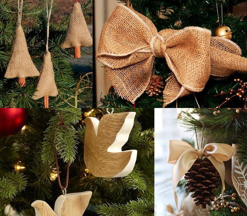 Украшения елки из ткани и дерева