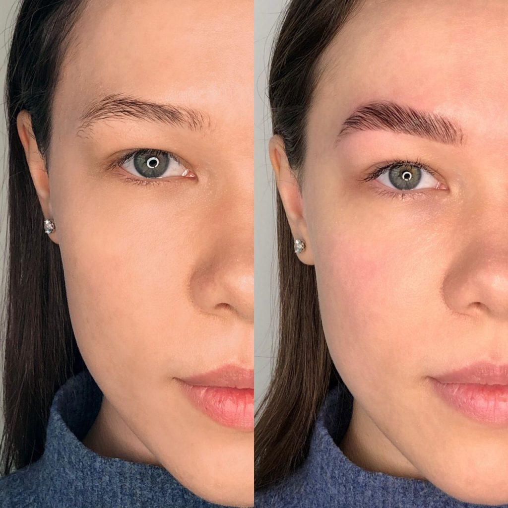 Брови до і після колагенування