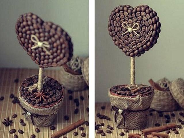 Настольный топиарий из кофейных зерен