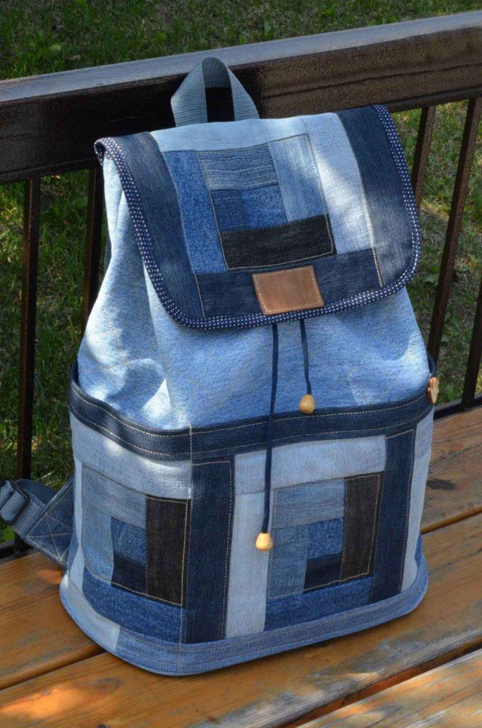 Стильный рюкзак из старой джинсовой ткани