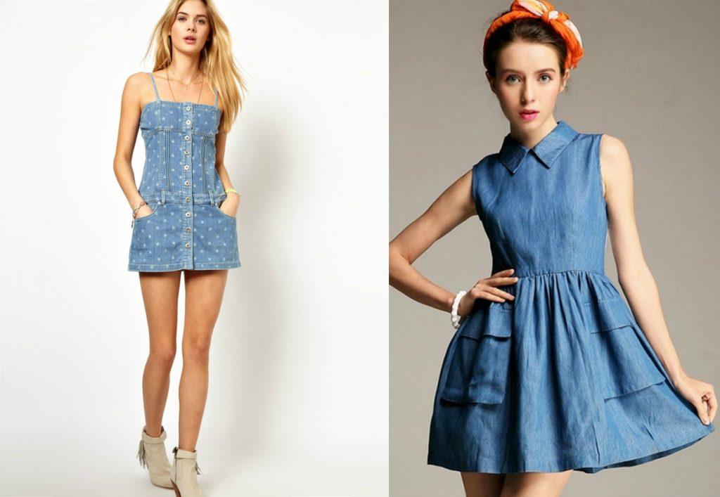 Короткие джинсовые сарафаны и платья сейчас в тренде