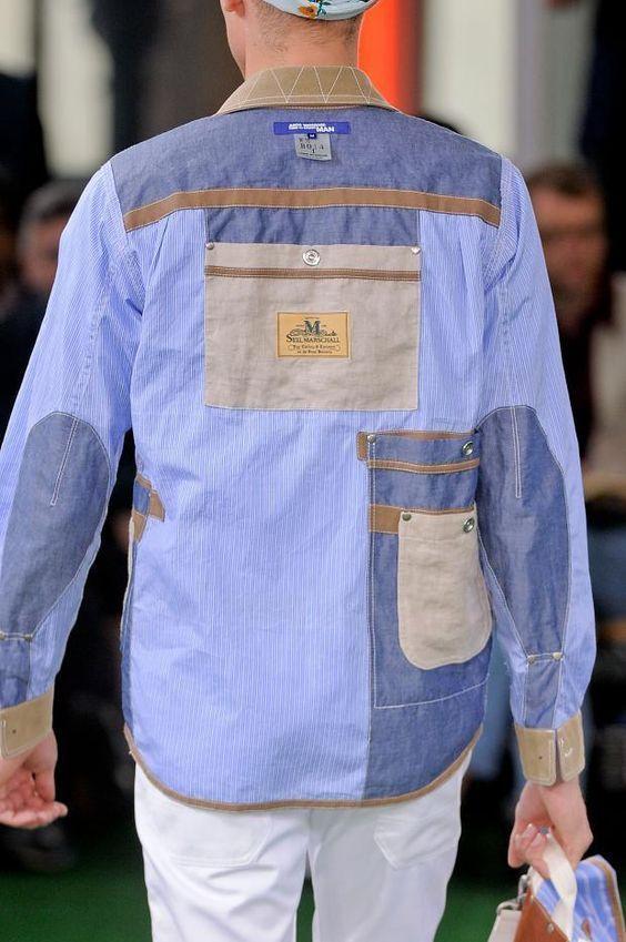 На мужчинах джинсовые рубашки из лоскутков смотрятся не менее эффектно