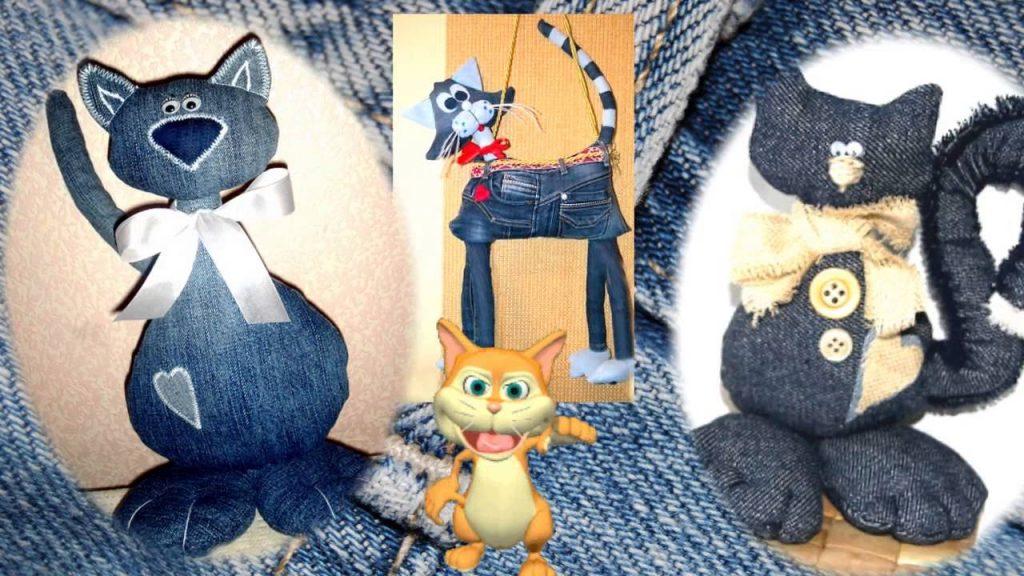 Симпатичные котики из джинсы