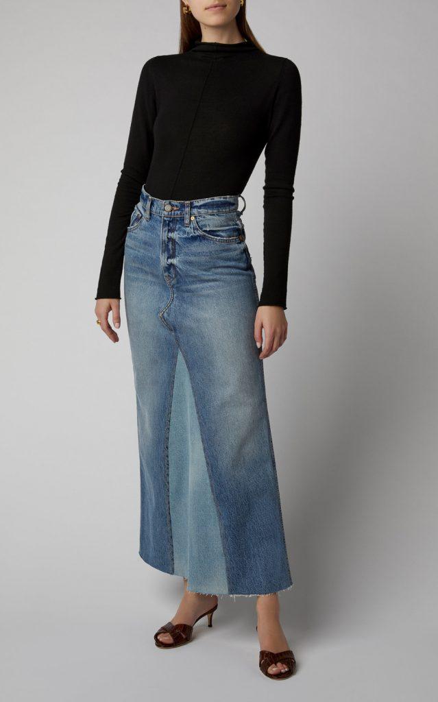 Один из вариантов кроя юбки из джинсов: распороть штанины по внутренним швам и  вшить между ними вставку из другой ткани, можно тоже джинсовой