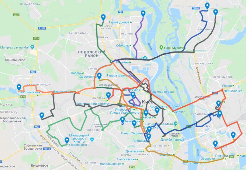 Карта маршрутов Uber Shuttle в Киеве