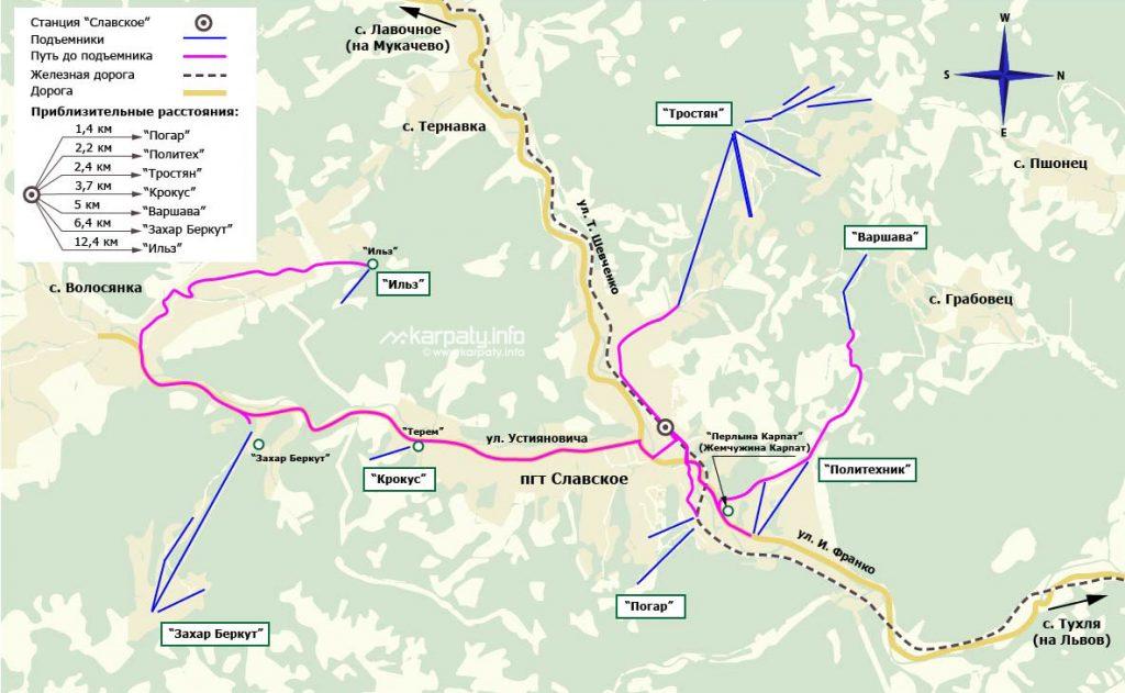 Карта маршрутов в Славском