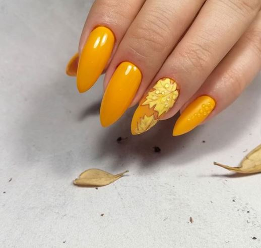 Осінній флористичний дизайн нігтів