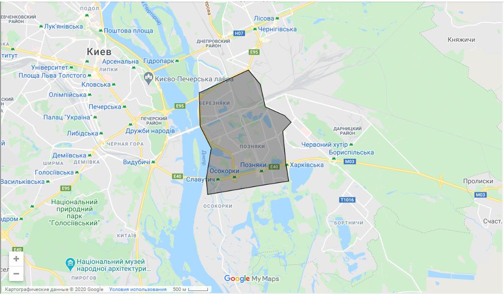 В межах зони, позначеної на карті доставка безкоштовна
