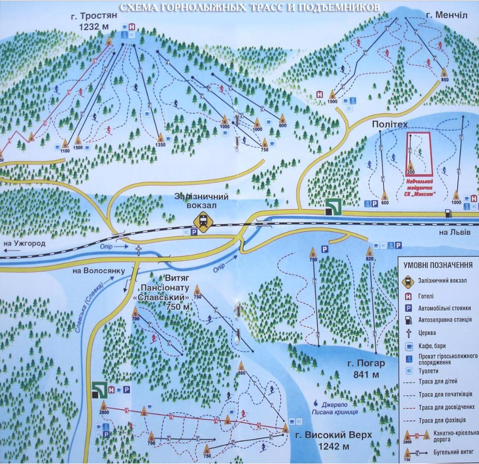 Карта-схема розташування гір в окрузі Славського