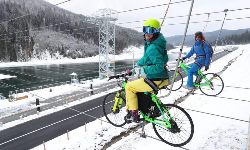 Экстремальная велопрогулка по канатной дороге в Буковеле