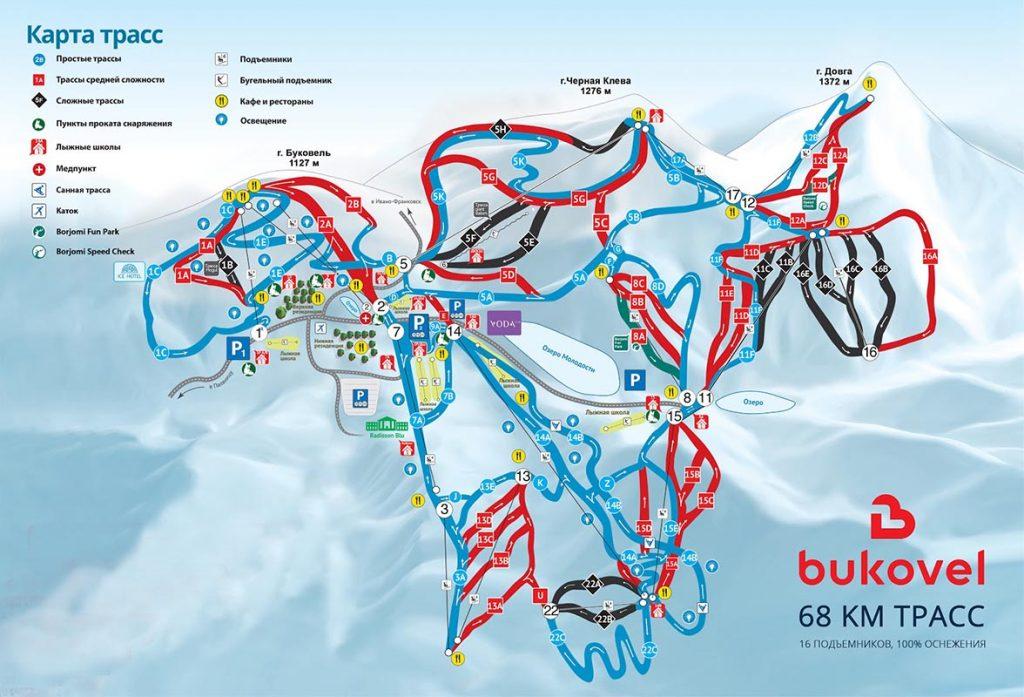Карта спусков Буковеля