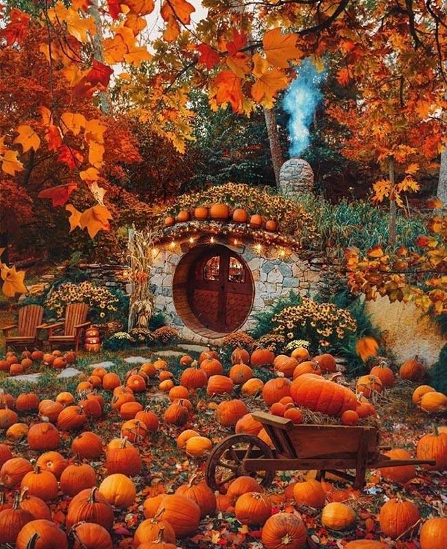 Хоббит Хилл в Карпатах осенью