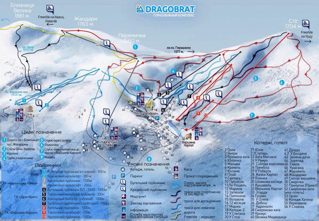 Карта гірськолижного курорту Драгобрат