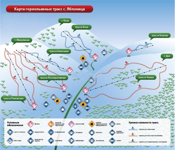 Карта лижних трас Яблуниці
