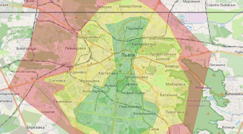 Вартість і час доставки варіюється в залежності від кольору зони на карті