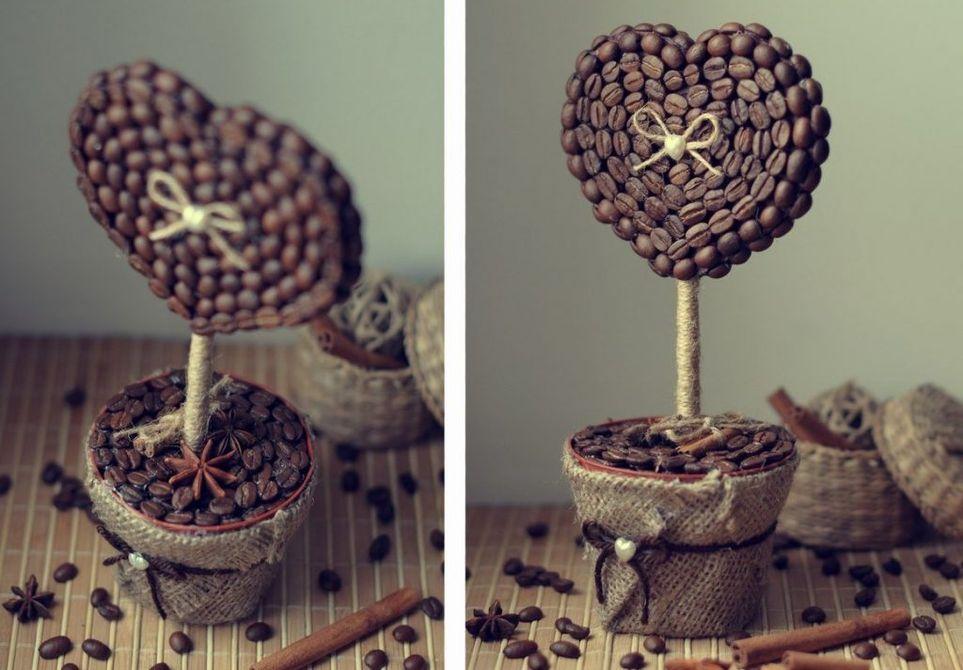 Настільний топіарій з кавових зерен