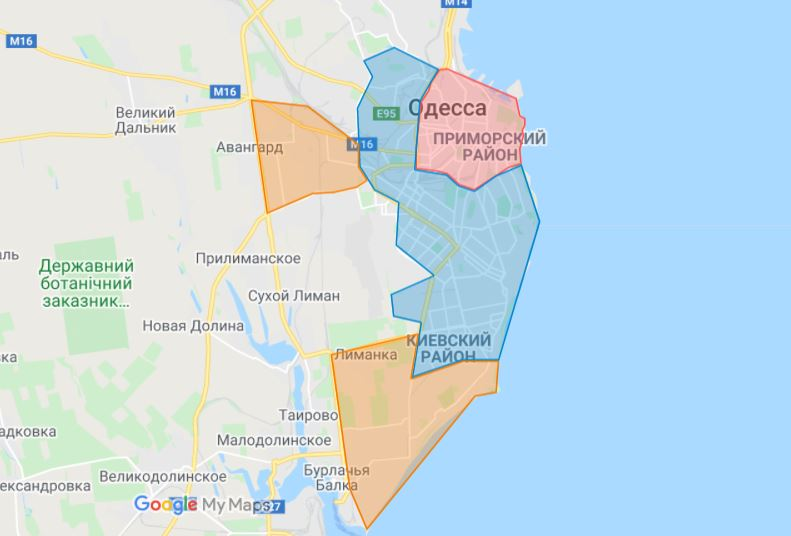 Карта зон доставки